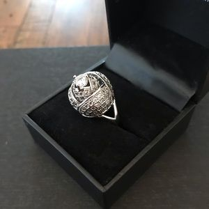 Holiday Party Statement Ring Silver and CZ SALE
